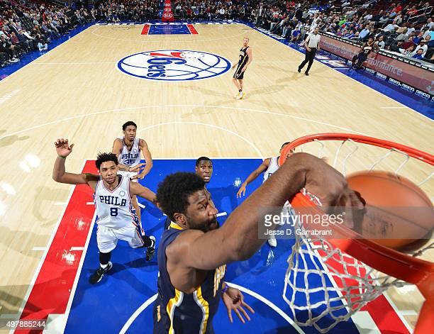 Solomon Hill of the Indiana Pacers dunks the ball against the Philadelphia 76ers at Wells Fargo Center on November 18 2015 in Philadelphia...