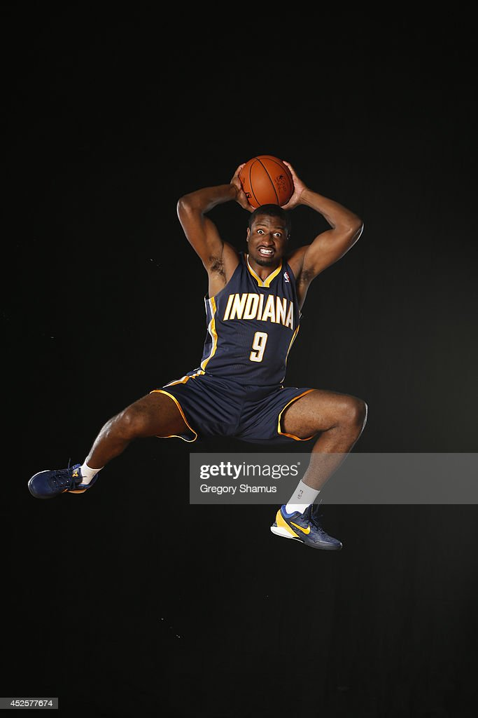 Solomon Hill #9 of the Indiana Pacers poses for a portrait during the 2013 NBA rookie photo shoot on August 6, 2013 at the Madison Square Garden Training Facility in Tarrytown, New York.