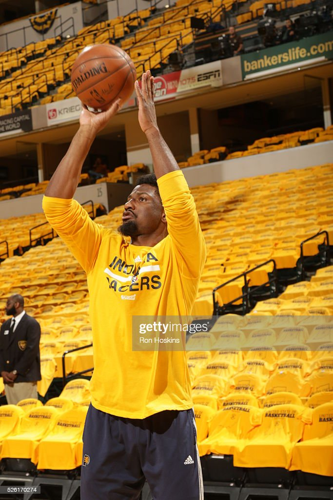 <a gi-track='captionPersonalityLinkClicked' href=/galleries/search?phrase=Solomon+Hill&family=editorial&specificpeople=6835906 ng-click='$event.stopPropagation()'>Solomon Hill</a> #44 of the Indiana Pacers warms up before the game against the Toronto Raptors in Game Six of the Eastern Conference Quarterfinals during the 2016 NBA Playoffs on April 29, 2016 at Bankers Life Fieldhouse in Indianapolis, Indiana.