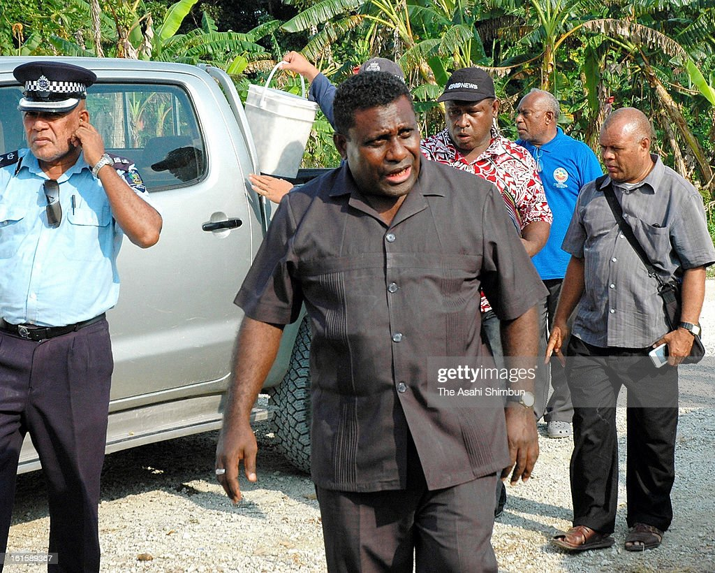 Solomon Islands Prime Minister Gordon Darcy Lilo arrives at Lata for inspection on February 9, 2013 in Lata, Nendo Island, Solomon Islands. A Magnitude 8.0 earthquake jolted Solomon Islands, at least 10 people were killed.