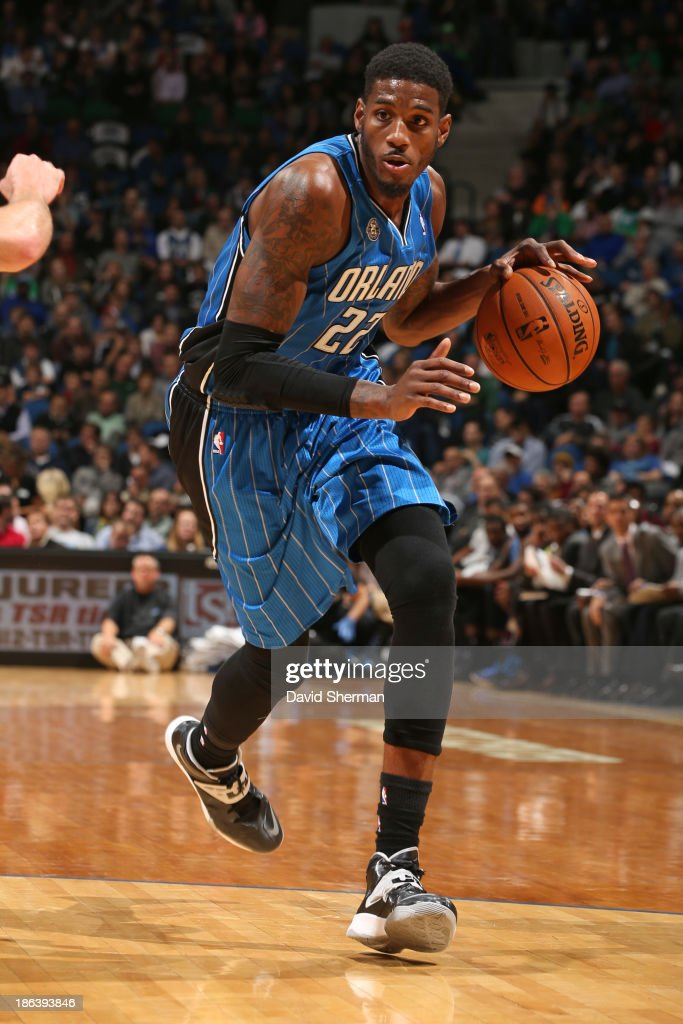 Solomon Jones #22 of the Orlando Magic drives to the basket against the Minnesota Timberwolves during the season and home opening game on October 30, 2013 at Target Center in Minneapolis, Minnesota.