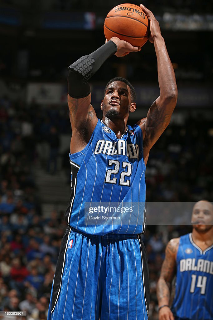 <a gi-track='captionPersonalityLinkClicked' href=/galleries/search?phrase=Solomon+Jones&family=editorial&specificpeople=821993 ng-click='$event.stopPropagation()'>Solomon Jones</a> #22 of the Orlando Magic shoots the ball against the Minnesota Timberwolves during the season and home opening game on October 30, 2013 at Target Center in Minneapolis, Minnesota.