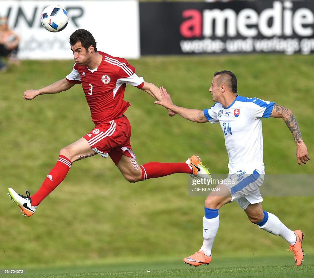 Solomon Kakabadze of Georgia (L) and Slovakia's Adam Zrelak vie for a ball during their friendly match between Slovakia and Georgia in Wels, Austria on May 27, 2016. / AFP / JOE