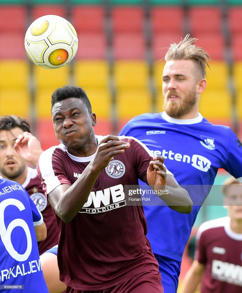 Solomon Okoronkwo of BFC Dynamo and Kevin Kahlert of VSG Altglienicke during the game between BFC Dynamo Berlin and VSG Altglienicke on august 20, 2017 in Berlin, Germany.