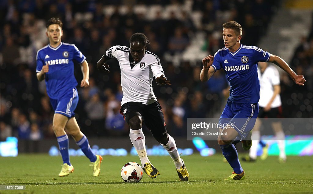 Solomon Sambou of Fulham attacks during the FA Youth Cup Final First Leg match between Fulham and Chelsea at Craven Cottage on April 28 2014 in...
