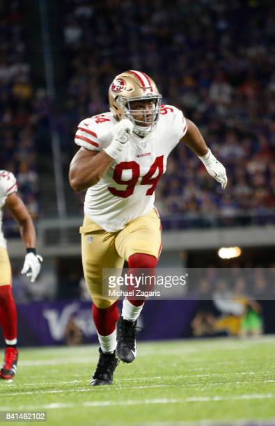 Solomon Thomas of the San Francisco 49ers defends during the game against the Minnesota Vikings at US Bank Stadium on August 27 2017 in Minneapolis...