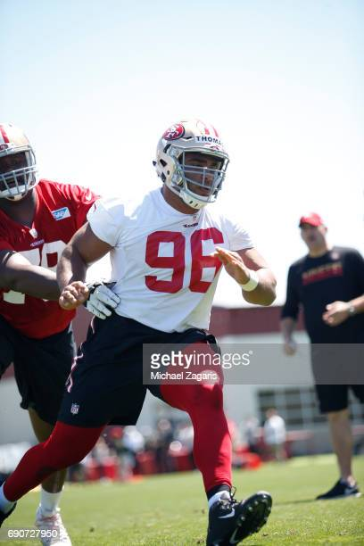 Solomon Thomas of the San Francisco 49ers goes through drills during the teams rookie camp at the 49ers training facility at Levi Stadium on May 05...