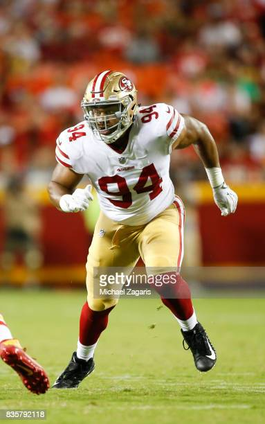 Solomon Thomas of the San Francisco 49ers rushes the quarterback during the game against the Kansas City Chiefs at Arrowhead Stadium on August 11...
