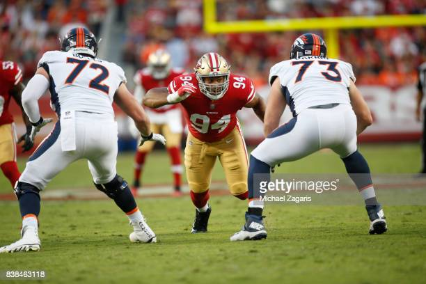 Solomon Thomas of the San Francisco 49ers rushes the quarterback during the game against the Denver Broncos at Levi Stadium on August 19 2017 in...