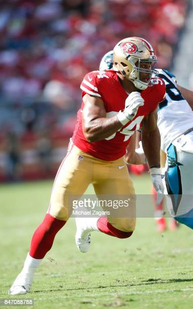 Solomon Thomas of the San Francisco 49ers rushes the quarterback during the game against the Carolina Panthers at Levi's Stadium on September 10 2017...