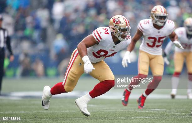 Solomon Thomas of the San Francisco 49ers rushes the quarterback during the game against the Seattle Seahawks at CenturyLink Field on September 17...