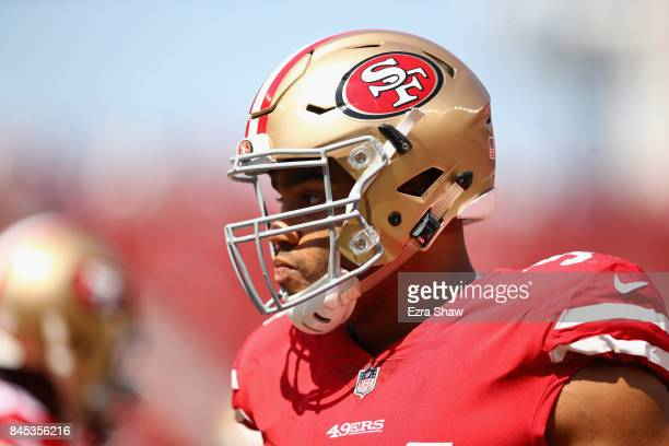 Solomon Thomas of the San Francisco 49ers stands on the field before their game against the Carolina Panthers at Levi's Stadium on September 10 2017...