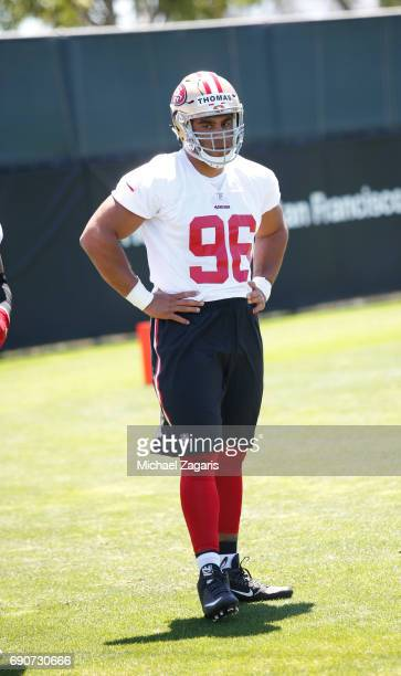 Solomon Thomas of the San Francisco 49ers stands on the field during the teams rookie camp at the 49ers training facility at Levi Stadium on May 05...