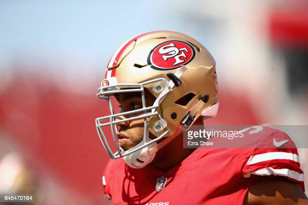 Solomon Thomas of the San Francisco 49ers warms up before their game against the Carolina Panthers at Levi's Stadium on September 10 2017 in Santa...