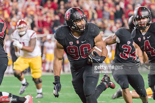 Solomon Thomas of the Stanford Cardinal runs back a fumble during the Pac12 Championship Game against the USC Trojans played on December 5 2015 at...