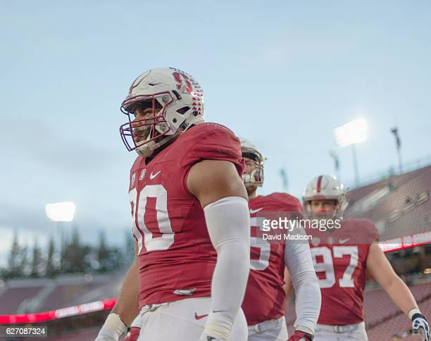 Solomon Thomas of the Stanford Cardinal warms up before an NCAA football game against the Rice Owls played on November 26 2016 at Stanford Stadium in...