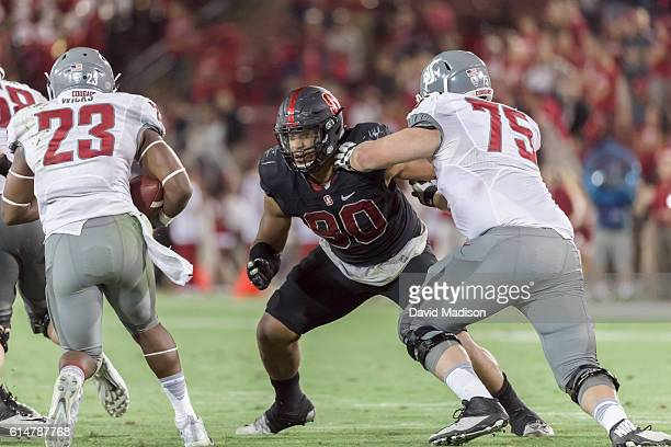 Solomon Thomas plays defense during an NCAA Pac12 football game against the Washington State Cougars played on October 8 2016 at Stanford Stadium on...