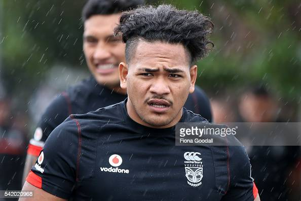 Solomone Kata arrives during a New Zealand Warriors NRL training session at Mt Smart Stadium on June 22 2016 in Auckland New Zealand