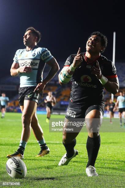 Solomone Kata of the Warriors celebrates after scoring a try during the round 21 NRL match between the New Zealand Warriors and the Cronulla Sharks...