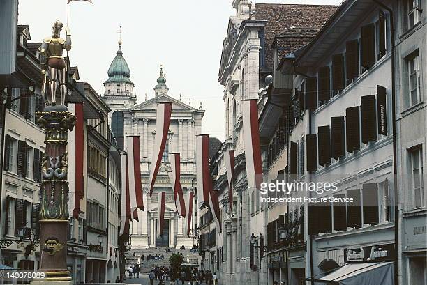 Solothurn Switzerland north of Bern is touted as the most beautiful baroque city in Switzerland In the background isthe 18th century Cathedral of St...