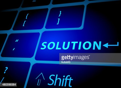 Solution button on computer keyboard : Stock Photo