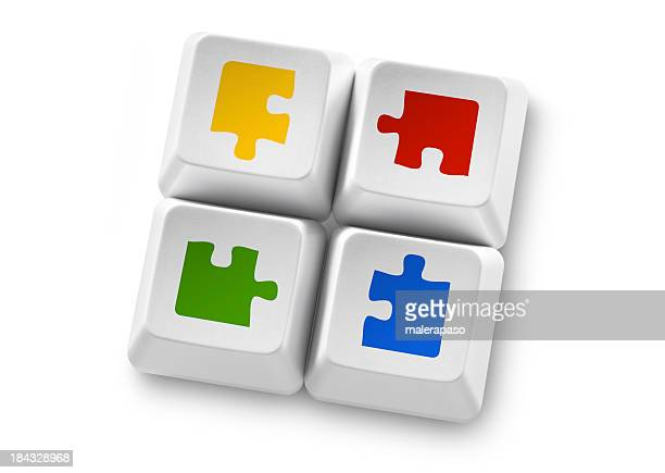 Solutions. Computer keys with puzzle