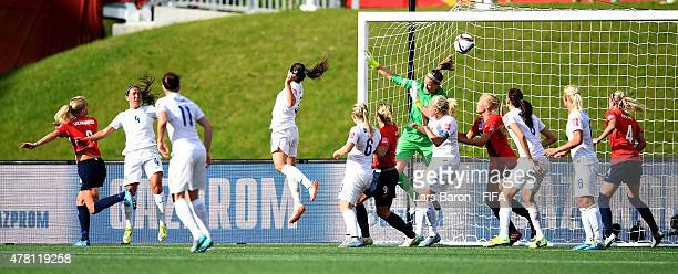 Solveig Gulbrandsen of Norway heads her teams first goal during the FIFA Women's World Cup 2015 Round of 16 match between Norway and England at...