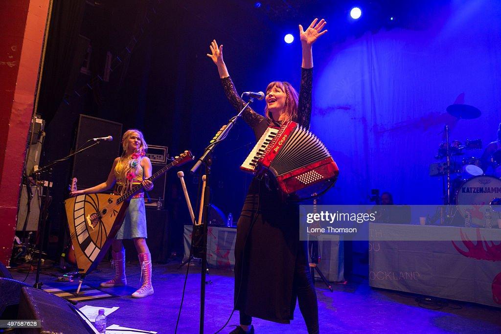 Solveig Heilo and Anne Marit Bergheim of Katzenjammer perform at O2 Shepherd's Bush Empire on November 17 2015 in London England