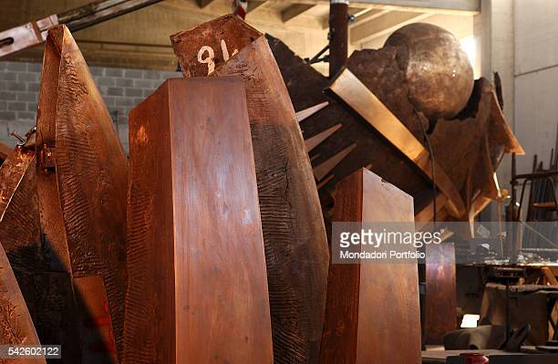 Som parts of Arnaldo Pomodoro's Grande Sfera being created for the Exhibition in the PalaisRoyal gardens in Paris Milan 19th June 2002