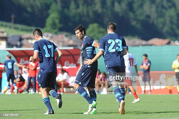 Soma Novothny of Napoli celebrates after scoring his third team goal with Blerim Dzemaili and Marek Hamsik during the preseason friendly match...
