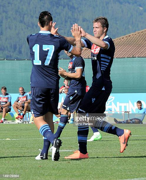 Soma Novothny of Napoli celebrates after scoring his thirdi team goal with Marek Hamsik during the preseason friendly match between SSC Napoli and US...