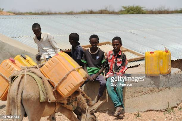 Somali boys gather to water livestock at a traditional cistern for harvesting rainwater called a berkad made by the Irish charity ConcernWorldwide as...