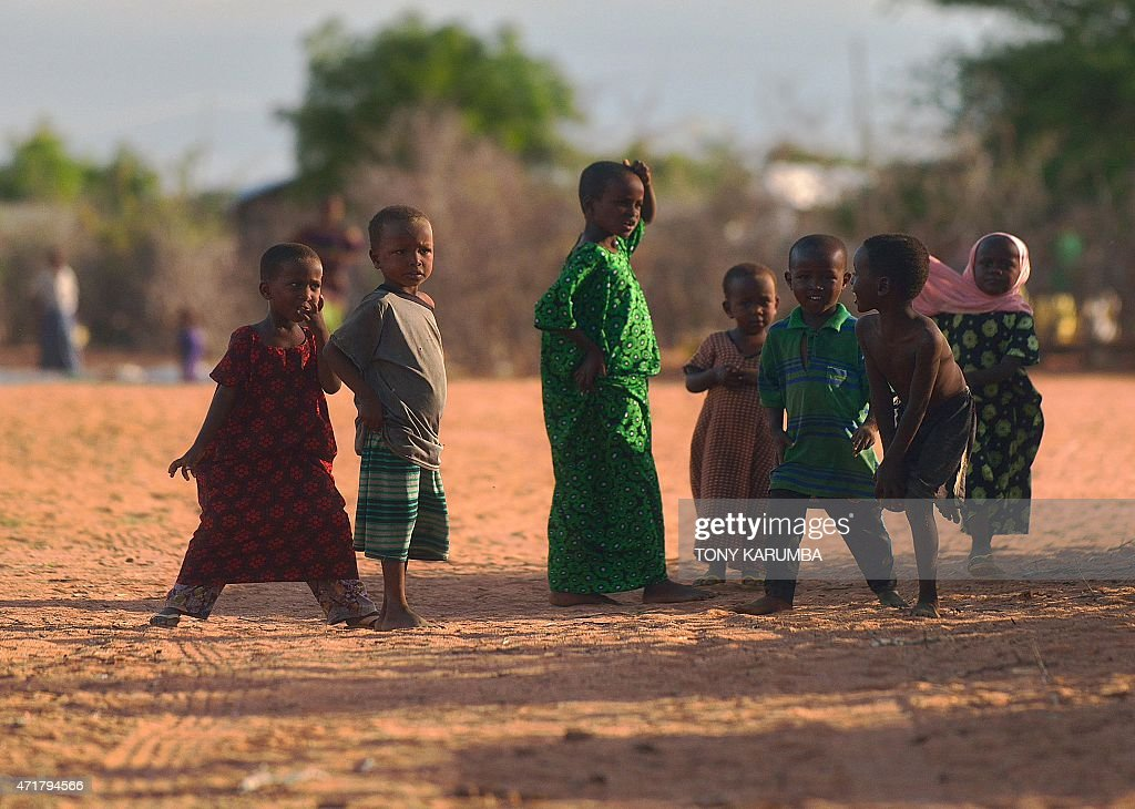 Somali children play at Hagadera sector of the Dadaab refugee camp north of the Kenyan capital Nairobi on April 29 2015 AFP PHOTO/Tony KARUMBA