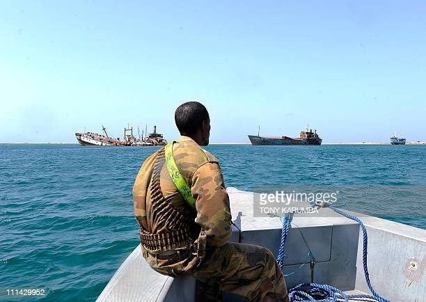 A Somali coastguard patrols off the coast of Somalia's breakaway Republic of Somaliland on March 30 2011 As piracy has flourished and turned...