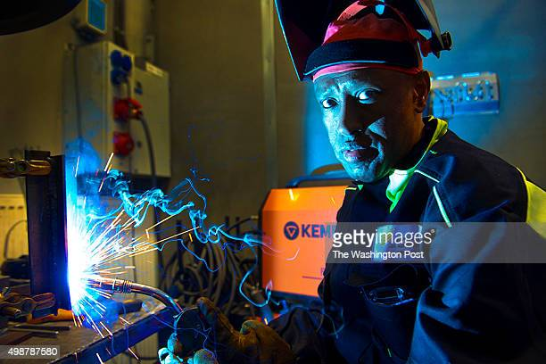 Somali immigrant Bashir Hassan trains to become a welder at the Savo Consortium for Education in Toivala Finland on October 10 2015 Hassan immigrated...