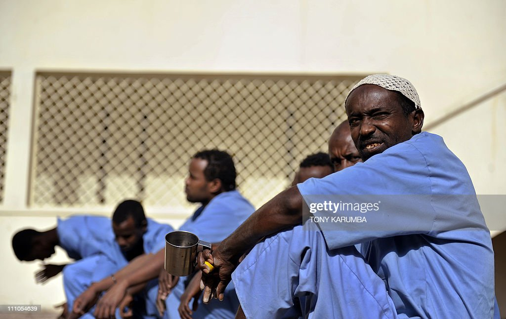 Somali inmates gather in the courtyard of the UNfunded prison in Hargeisa the capital of Somalia's selfdeclared state of Somaliland on March 29 2011...