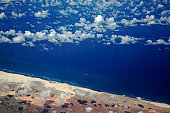 An aerial view of the Somalian coastline near Mogadishu – an area frequented by modern-day pirates.