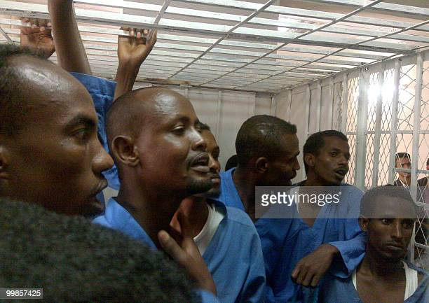 Somali pirates stand in the dock during their trial in Sanaa on May 18 2010 A Yemeni court sentenced six Somali pirates to death and jailed six...