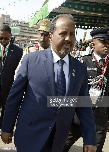 Somali President Hassan Sheikh Mohamoud arrives to attend the inauguration of Nigerian President Mohammadu Buhari at the Eagles Square in Abuja on...