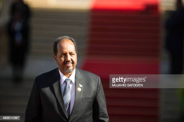 Somali President Hassan Sheikh Mohamoud attends the inauguration of President Jacob Zuma at the Union Building in Pretoria South Africa on May 24...