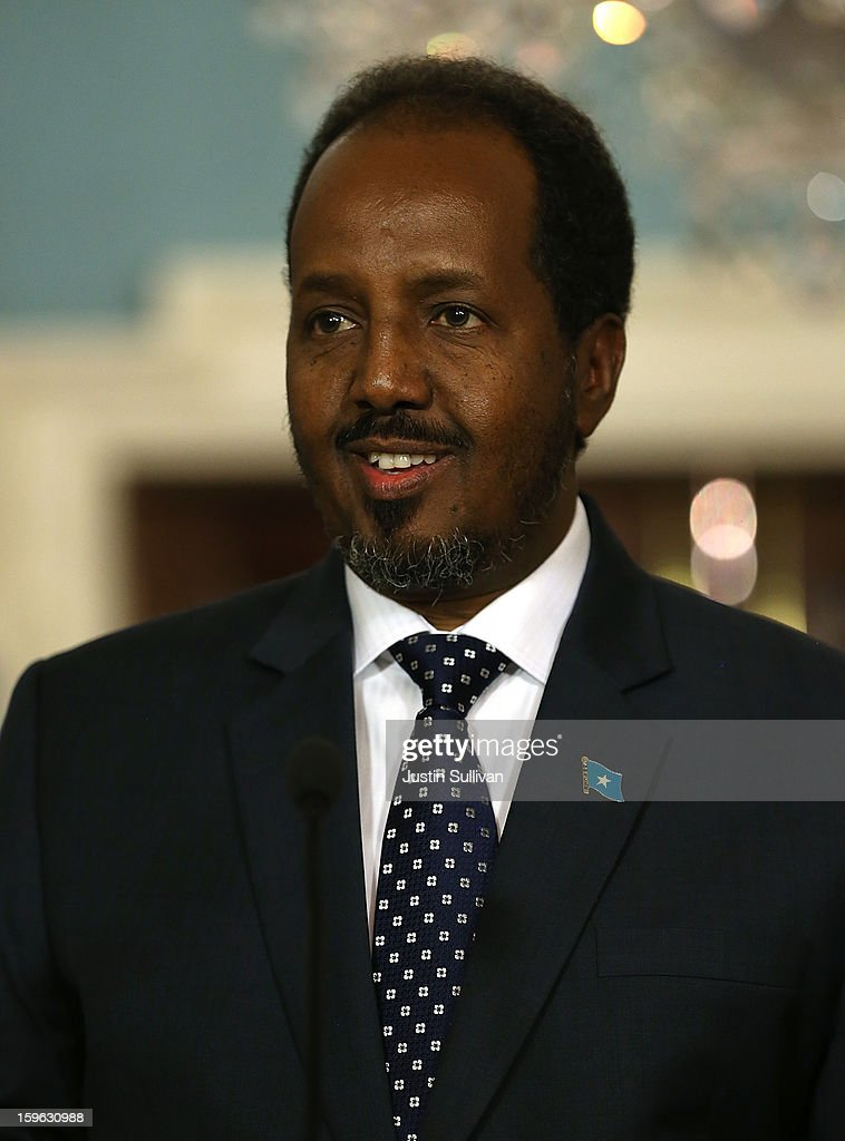 Somali president Hassan Sheikh Mohamud speaks during a news conference with Secretary of State Hillary Clinton on January 17, 2013 in Washington, DC. Secretary Clinton announced that the United States would recognize the Somali government for the first time in over 20 years, since the shooting down in Mogadishu of two American Black Hawk helicopters.