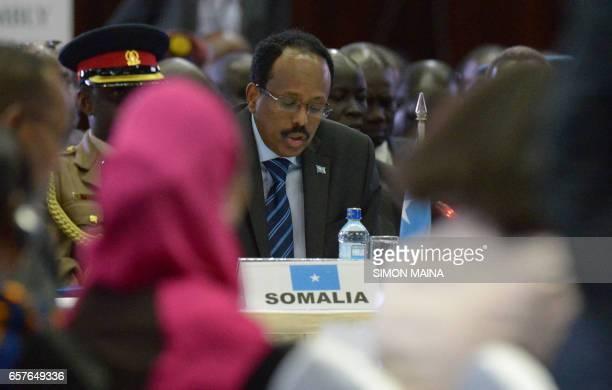 Somali President Mohamed Abdullahi Mohamed attends the East Africa's regional Intergovernmental Authority on Development Special Summit on Somali...