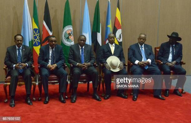 Somali President Mohamed Abdullahi Mohamed Ethiopian Prime minister Hailemariam Desalegn Kenya's President Uhuru Kenyatta Uganda's President Yoweri...