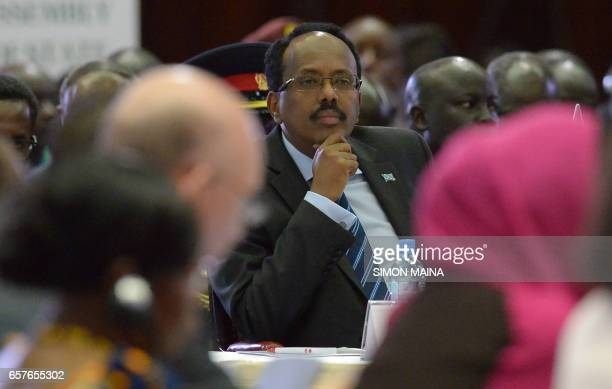 Somali President Mohamed Abdullahi Mohamed takes part in the East Africa's regional Intergovernmental Authority on Development Special Summit on...