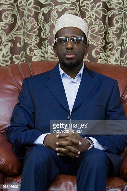 Somali president Sheikh Sharif Ahmed meets the media at 'Villa Somalia' the presidential palace in Mogadishu on November 23 2009 Somalia's embattled...