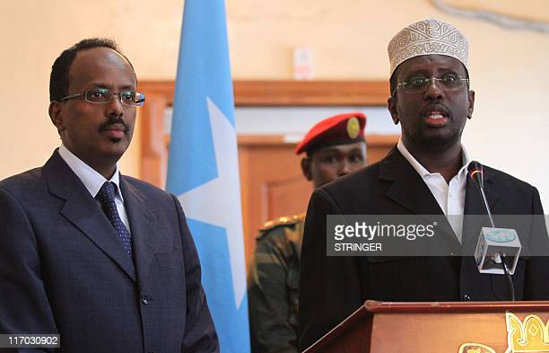 Somali Prime Minister Mohamed Abdullahi Mohamed and Somali president Sarif Sheik Ahmed give a press conference at the presidential palace in...