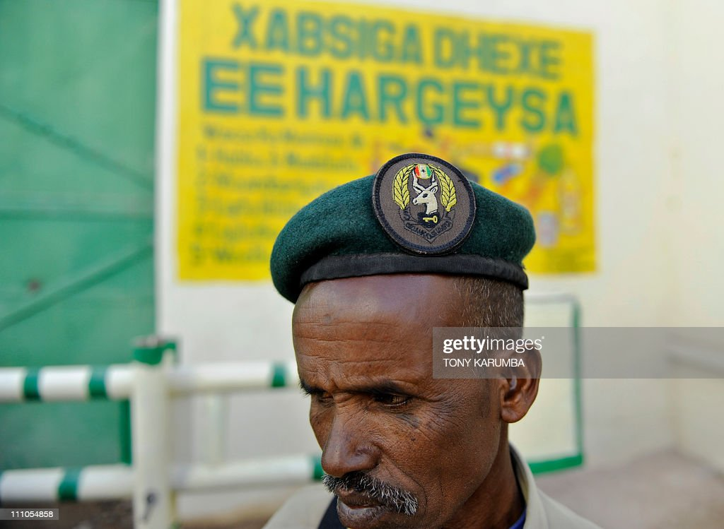 A Somali prison warden stands at his station at the UNfunded prison in Hargeisa the capital of Somalia's selfdeclared state of Somaliland on March 29...