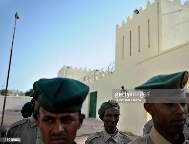 Somali security wardens perform drills in the courtyard of the UNfunded prison in the capital Hargeisa the capital of Somalia's selfdeclared state of...