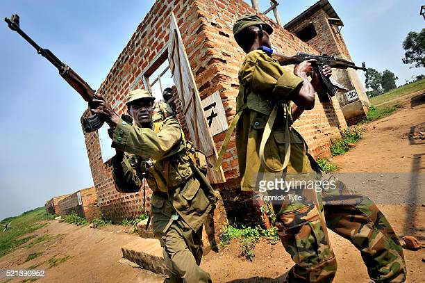 Somali soldiers in a training ambush in urban environment in the EUTM camp in Uganda