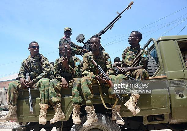 Somali soldiers patrol in Wadajir district South of capital following heavy fighting as Somali government and African Union troops battled a powerful...